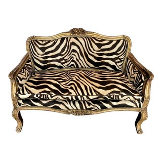 19th Century Italian Carved Gold Leafed Sofa For Sale