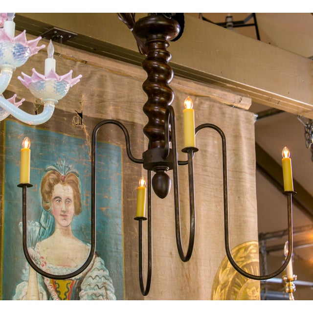 Fabric Wooden Barley Twist Iron Arm Chandelier For Sale - Image 7 of 8
