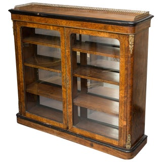 19th Century English Victorian Walnut Bookcase For Sale