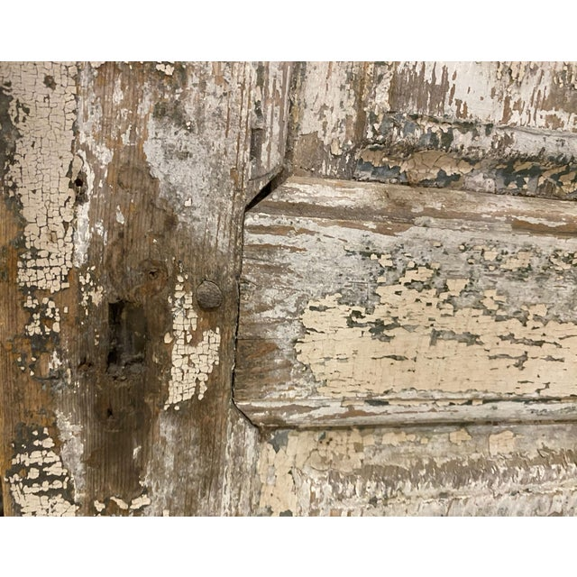 French Country 19th Century French Antique Chippy Paint Doors With Hardware - a Pair For Sale - Image 3 of 7