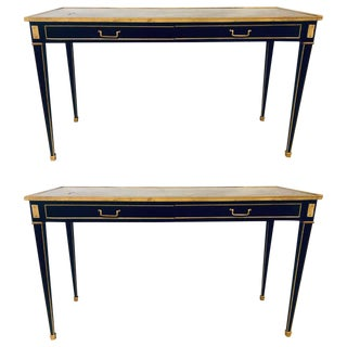 Louis XVI Style Jansen Style Mirrored Top Console Sofa Tables, a Pair For Sale