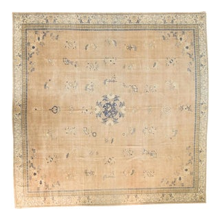 "Antique Distressed Chinese Square Carpet - 14'1"" x 14'1"" For Sale"