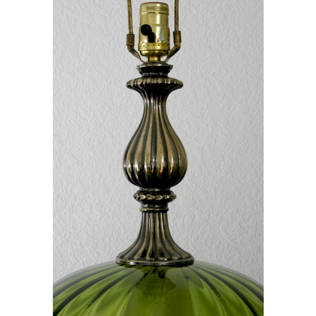 Vintage Green Glass Nightlight Table Lamps - a Pair For Sale - Image 4 of 7