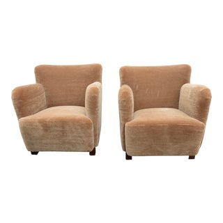 1940s Vintage Mogens Lassen Attributed Danish Club Chairs - a Pair in Caramel Mohair For Sale
