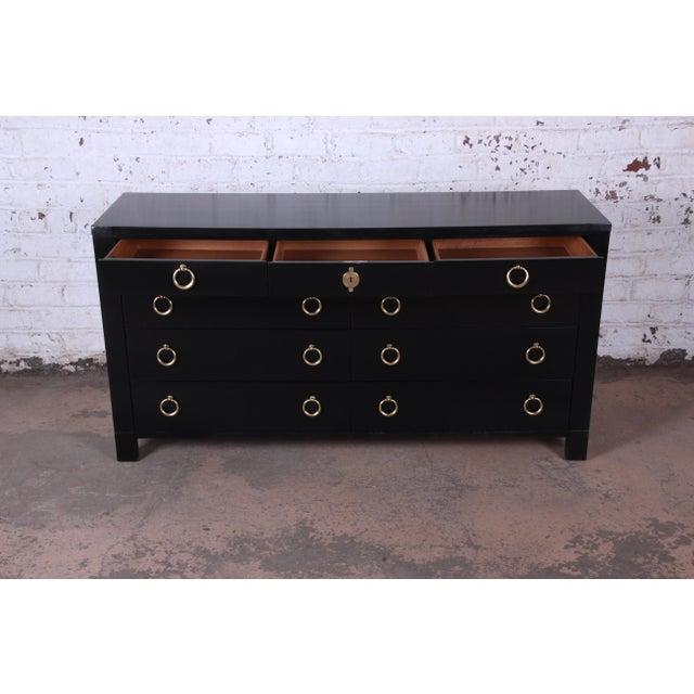 Baker Furniture Hollywood Regency Ebonized Long Dresser For Sale - Image 9 of 13