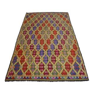 Masterpice Hand Woven Vintage Braided Turkish Rug Wool Kilim Jajim- 5′7″ × 9′2″ For Sale