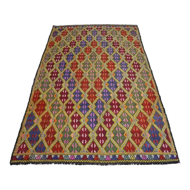 Masterpice Hand Woven Vintage Braided Turkish Rug Wool Kilim Jajim- 5′7″ × 9′2″ For Sale