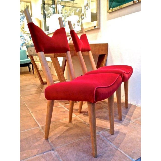 Contemporary Jean Royere Pair of Documented Chairs Covered in Red Velvet For Sale - Image 3 of 7