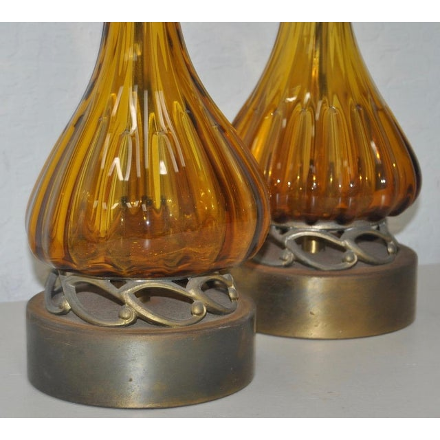 Mid 20th Century Pair of Hand Blown Murano Table Lamps on Brass Base C.1960s For Sale - Image 5 of 7
