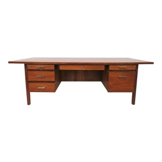 Expansive Seven Foot Executive Desk in Walnut by Lehigh-Leopold, D. 1969 For Sale