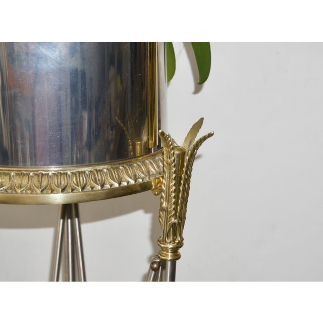 Gold Jardinière Stand Pedestal by Maison Jansen For Sale - Image 8 of 12
