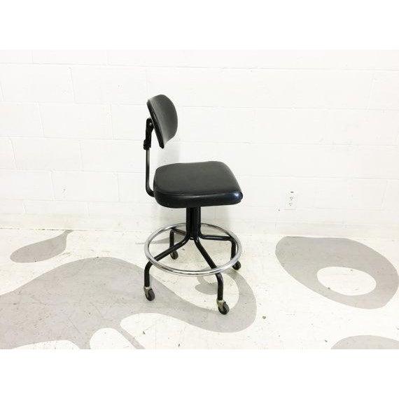 Mid-Century Black Vinyl Industrial Chair - Image 2 of 6