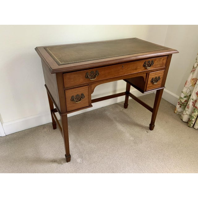 Chippendale Vintage Georgian Walnut Writing Table With Tooled Leather Top For Sale - Image 3 of 12