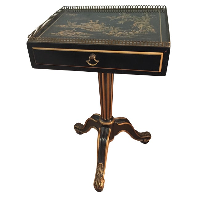 Black Vintage Chinoiserie Side Table - Image 1 of 5