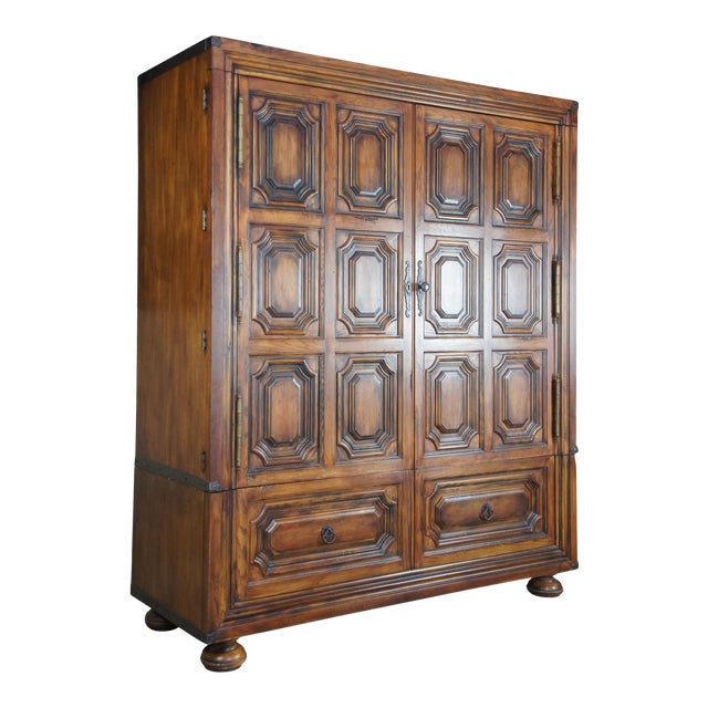 Brutalist Ralph Lauren Old World English Style Oak Sheltering Sky Armoire For Sale