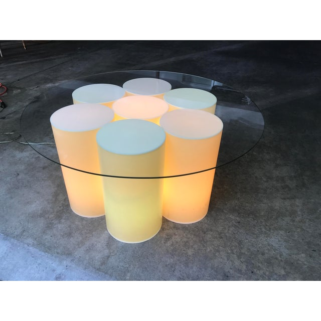 Bauhaus Vintage Plastic Groovy Cylinder Coffee Table - Lights Up For Sale - Image 3 of 9