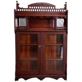 Antique Victorian Carved Oak Bookcase For Sale