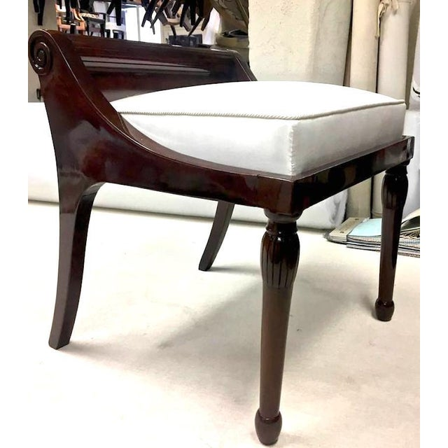 Pair of Neoclassic Refined Solid Rosewood Stools For Sale - Image 6 of 8