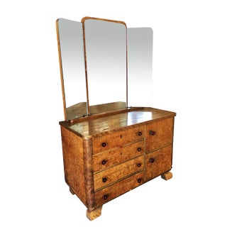 Art Deco Burlwood Dresser With Tri Fold Mirror For Sale