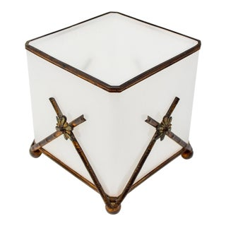 19th Century Opaline Glass Cachepot or Jardinière With Dark Bronze Trim For Sale