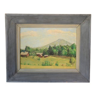 Framed Mountain Farm Landscape Painting