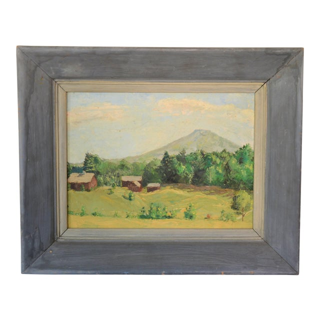 Framed Mountain Farm Landscape Painting For Sale