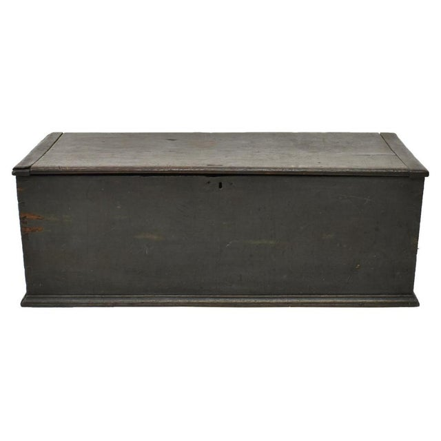 American storage trunk blanket chest, 19th c.. Pine wood and painted dark blue finish. This trunk features dovetail...