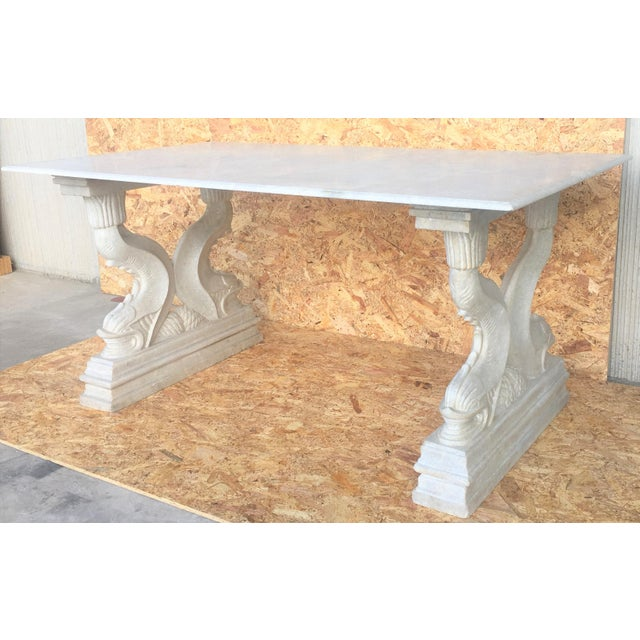Carrara Marble 19th Italian Center or Dining Table in Carrara Marble For Sale - Image 7 of 13