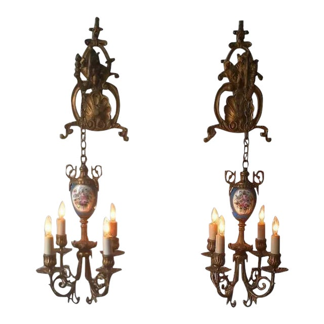 Pair of Beautiful Floral Pendant Lights or Sconces For Sale