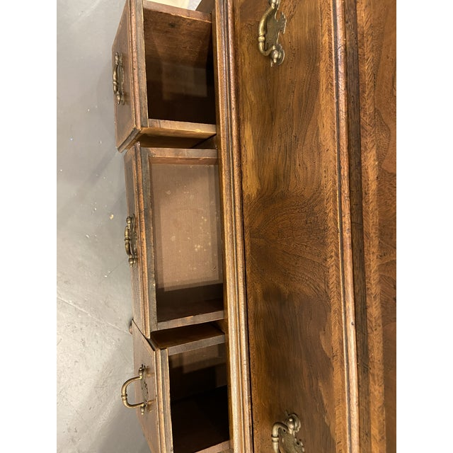 1950s English Walnut Highboy With Satin Banding For Sale - Image 9 of 10