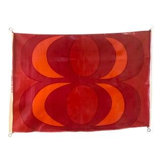 """Vintage Marimekko Red Maija Isola """"Kaivo"""" 1965 Waxed Cotton Fabric For Sale"""