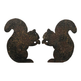 "Vintage Pair Textured Hammered Andirons- 13"" Figural Squirrels For Sale"