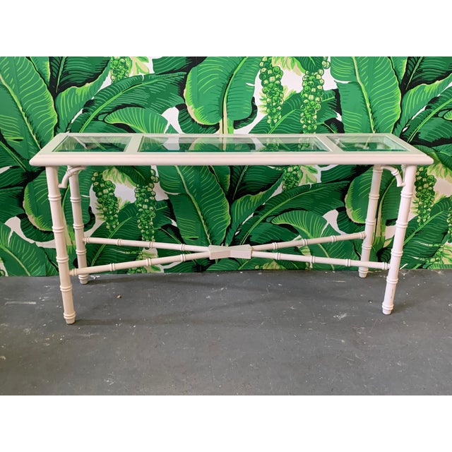 Hollywood Regency Faux Bamboo and Glass Console Table For Sale - Image 3 of 7