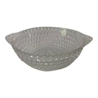 Vintage Clear Pressed Glass Diamond & Beaded Design Serving Bowl For Sale