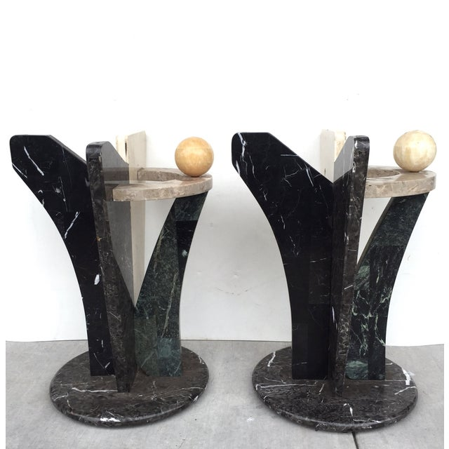 Multicolored Marble/Stone Side Tables - Pair - Image 6 of 7