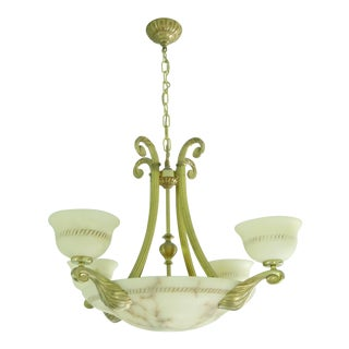 Italy Alabaster Stone Gilded Gold 8 Light Chandelier For Sale