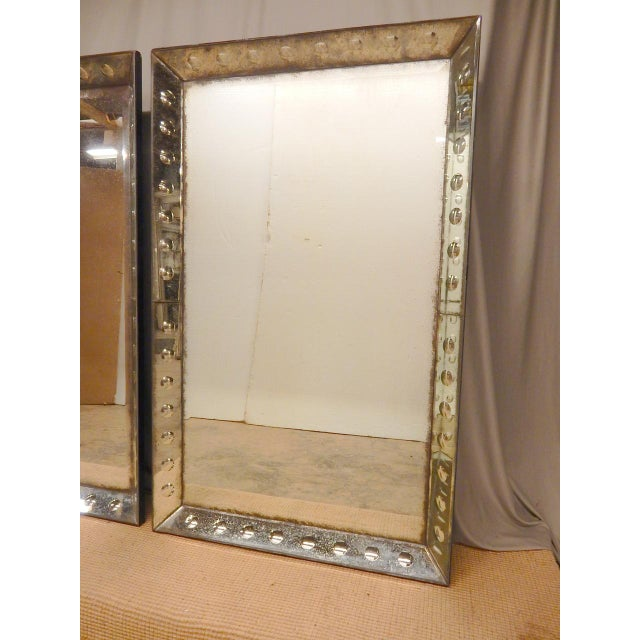 French Pair of 1930/40's Glass Framed Mirrors For Sale - Image 3 of 7