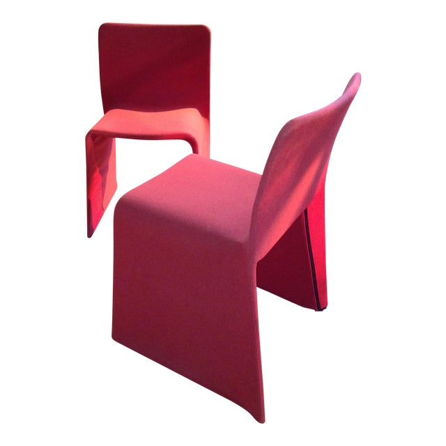 Patricia Urquiola Red Fabric Glove Dining Chairs - a Pair For Sale