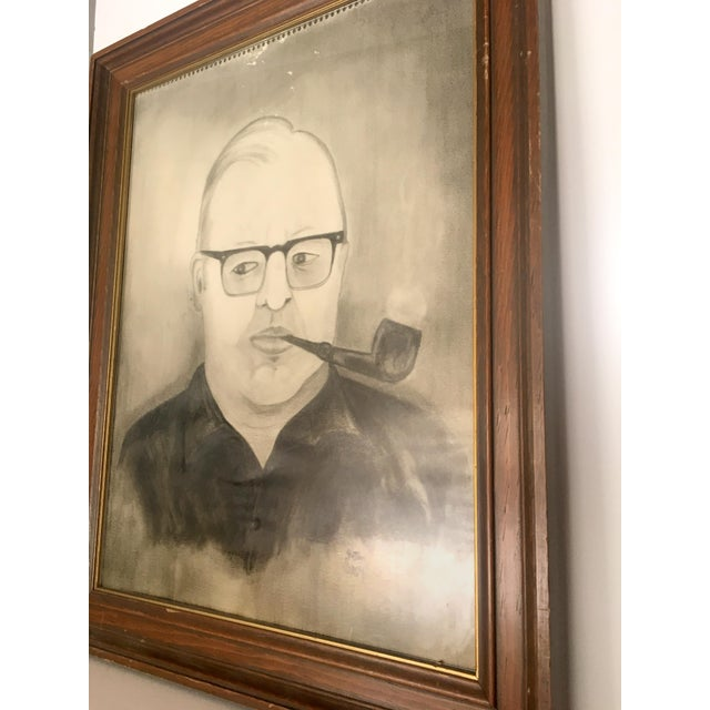 """Man With Pipe"" Mid Century Graphite Portrait - Image 3 of 5"
