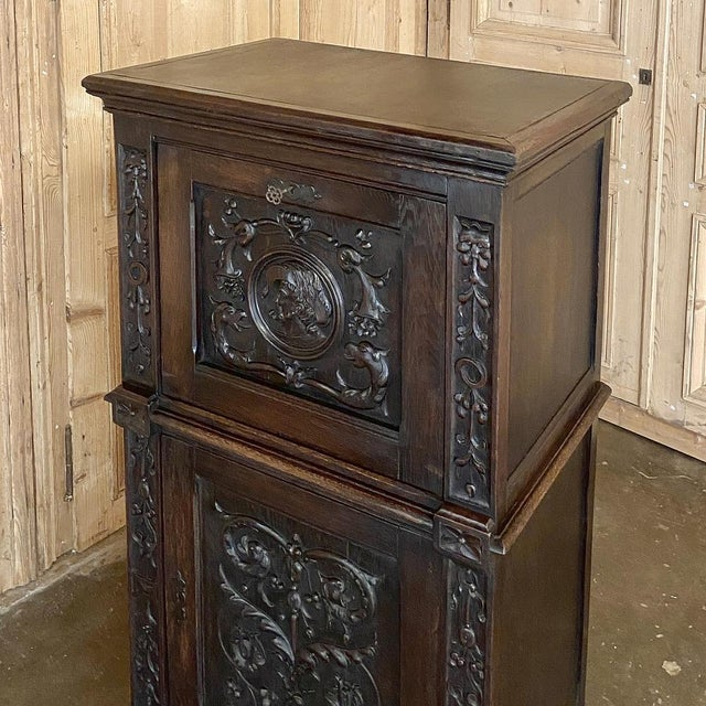 Early 20th Century Antique Renaissance Oak Drop-Front Cabinet For Sale - Image 5 of 12