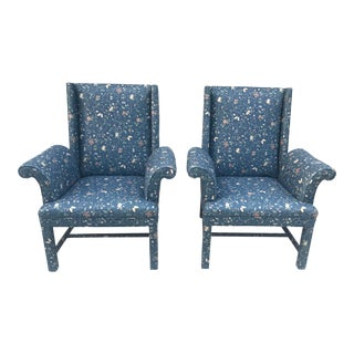 20th Century Americana Fully Upholstered Wingback Chairs - a Pair