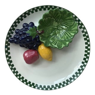 Large Majolica Fruits Platter For Sale