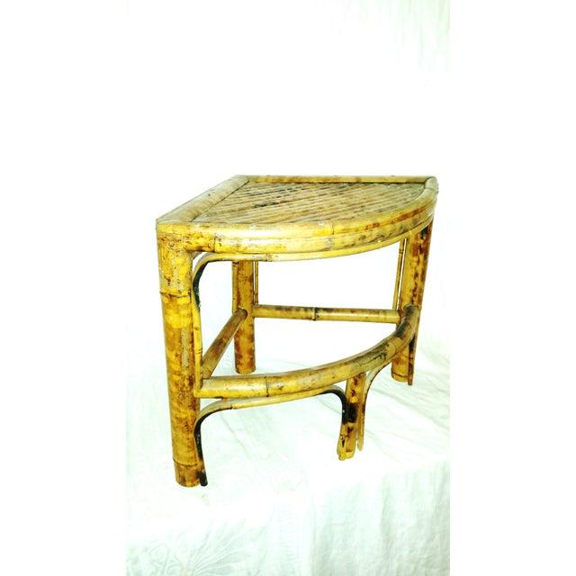 Vintage Scorched Bamboo Corner Shelf For Sale In Sacramento - Image 6 of 8