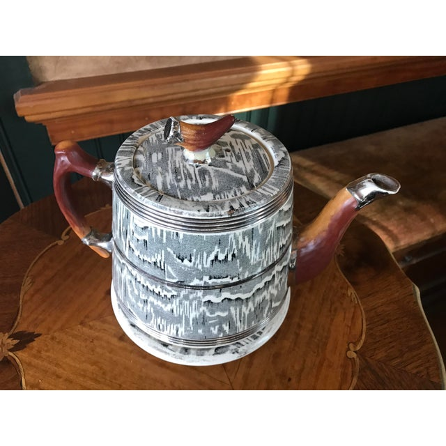 Country 1930s Arthur Wood Silver Shield Teapot For Sale - Image 3 of 11