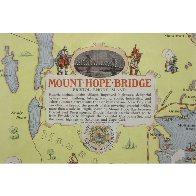 Fabulous circa 1933 color (12 fold) red framed map of Rhode Island designed by H.W. Hetherington. From Narragansett Bay to...