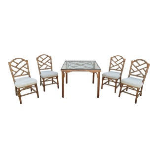 Clarke Casual Furn, Rattan Game/Dining Table and 4 Rattan Side Chair, Vintage For Sale