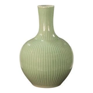 Sarreid Ltd. Celadon Carved Bamboo Globular Vase For Sale
