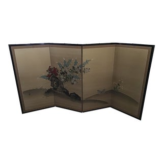 Japanese Byobu Signed Handpainted Screen For Sale
