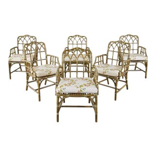 Bob Hope's Set of Six McGuire Rattan Dining Armchairs For Sale