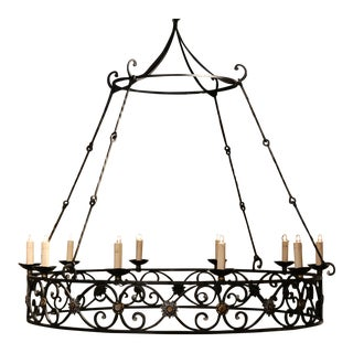 Large Early 20th Century French Iron Ten-Light Round Chandelier From Normandy